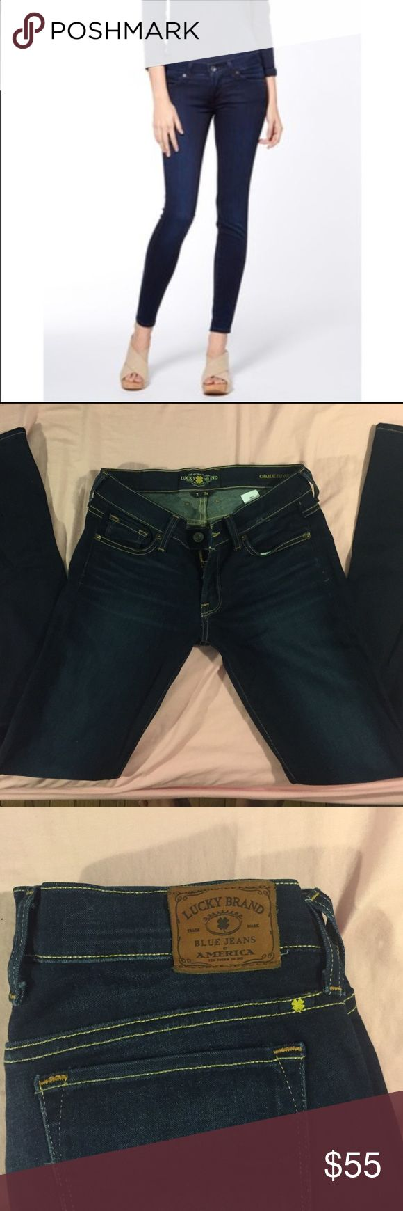 Lucky Brand Charlie Skinny Jeans Dark blue Lucky Brand Charlie Skinny size 2/26. Not from the outlet store. Worn two times, great condition, basically new. Offers welcome/ no trades. Lucky Brand Jeans Skinny