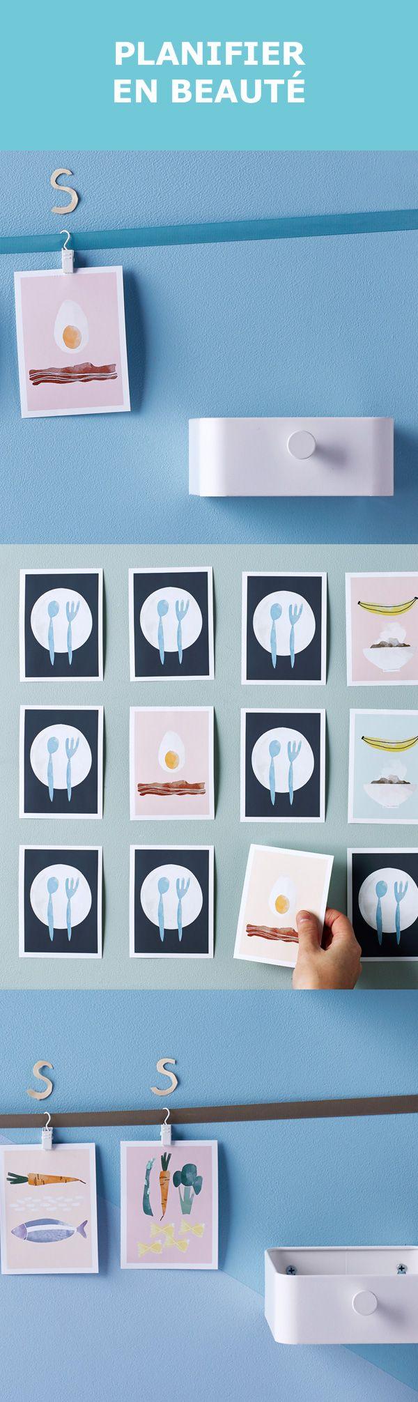 Préparez tout à l'avance et vous vous sentirez plus léger. Notre conceptrice numérique, Annie, a elle-même créé ces adorables cartes pour organiser les soupers de la semaine. Vous aussi pouvez créer votre propre série, selon les repas préférés de vos enfants. Affichez-les sur le mur de la cuisine avec les cintres à pince ENUDDEN et dites adieu à l'éternelle question : « Qu'est-ce qu'on mange pour souper?» Assurez-vous d'avoir deux images de chaque repas pour en faire un jeu de mémoire.