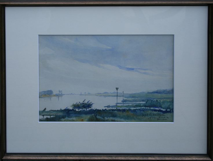 AW Verhorst Dutch IJssel near Kampen water color aquarel 1933 (58x44cm)