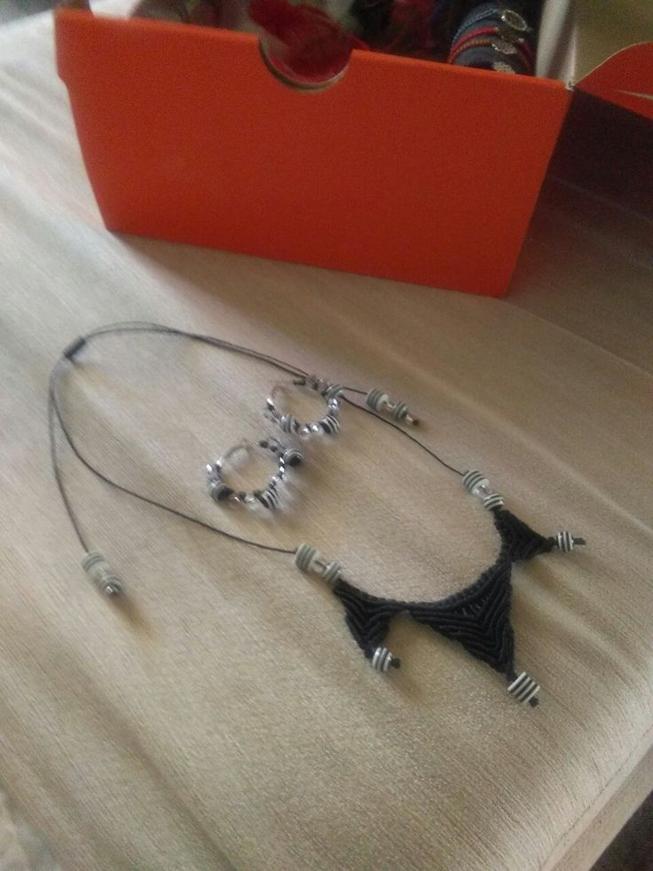 Black and white handmade macrame necklace and earings