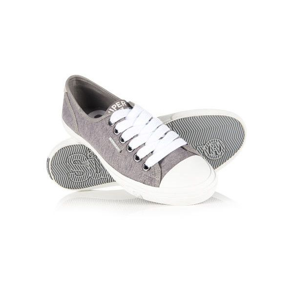 Superdry Low Pro Sneakers ($35) ❤ liked on Polyvore featuring shoes, sneakers, grey, superdry shoes, low sneakers, superdry, plimsoll shoes and lacy shoes