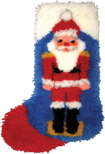 Create the fuzziest little Santa craft stocking you've ever seen with this useful little kit. Yarn is soft and easy to work with, and this Christmas stocking pattern made with latch hooking is very unique and durable. $17.42