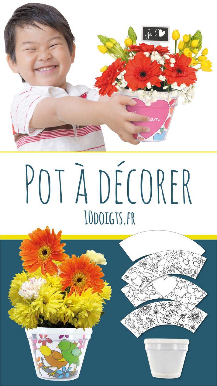 Cache pot de fleur  décorer ou colorier Activité enfant Facile  décorer