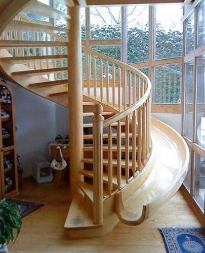 spiral staircase with a slide!