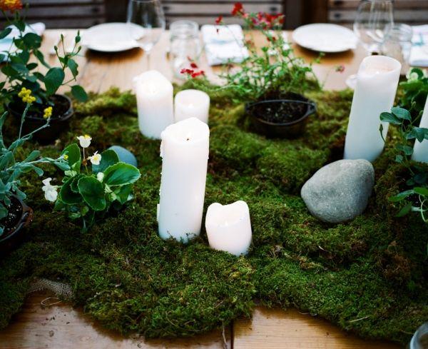 Fantastic moss table runner at the Terrain wedding!