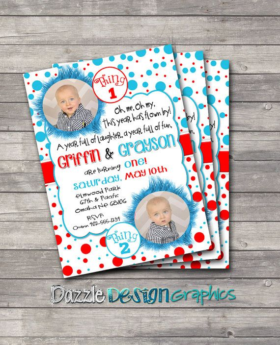 Planning a Dr. Seuss themed birthday party this year? This Twin Thing 1 and Thing 2 birthday invitation is inspired by Dr. Seuss, and would be perfect for the little loves in your life =). Personalized with your info and photos, this invite can be purchased in our Etsy shop. Visit Dazzle Design Graphics on Facebook at http://www.facebook.com/DazzleDesignGraphics for exclusive offers for our fans.
