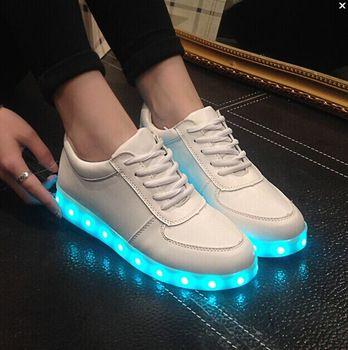 Led luminoso zapatos hombres mujeres zapatillas de deporte moda de carga USB encienda para arriba las