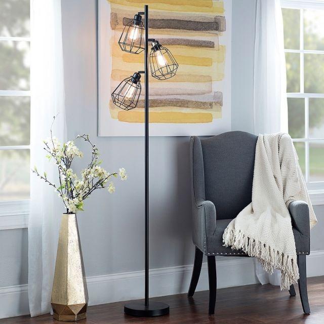 Industrial Floor Lamp Caged 3 Arm Edison Bulb Rustic Living Room Office Black