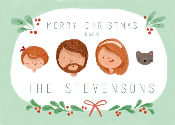 Custom Illustrated Family Portrait Christmas by kathrynselbert, $55.00