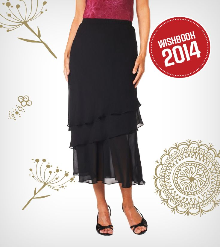 A layered chiffon skirt makes a great winter wardrobe staple. Perfect for a holiday cocktail party!