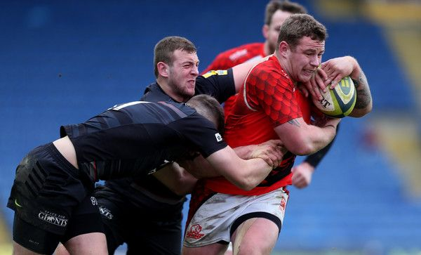 Koree Britton of London Welsh is tackled by George Perkins of Saracens during the LV= Cup match between London Welsh and Saracens at Kassam Stadium on February 1, 2015 in Oxford, England. (January 31, 2015 - Source: Ben Hoskins/Getty Images Europe)