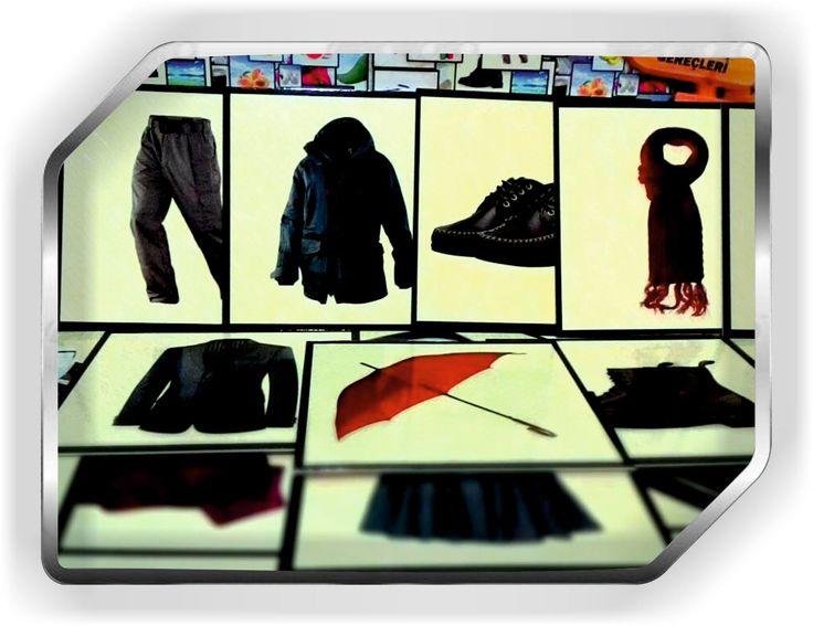 giyim üzerine hazırlanmış görsel eğitim kartları