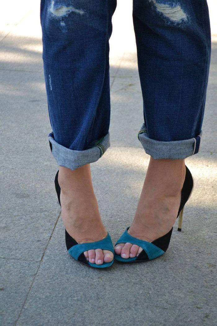 Inspírate y rediseña tus zapatos antiguos negros.  #zapatos #rediseñar #inspiración #bicolor #DIY