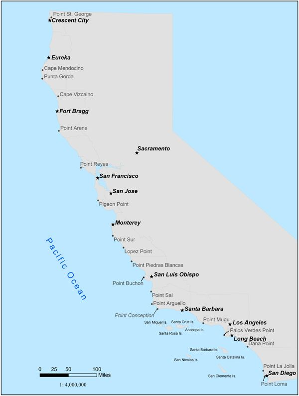 California Ocean Sport Fishing Regulations Map Ocean