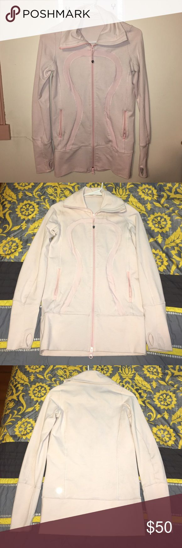 Lululemon Zip-up Sweatshirt Very cute Lululemon Athletica zip-up sweatshirt. It's in good condition. Also appears more pink in person, the lighting doesn't show the color well! Size 2. Price firm, $40 on Merc. *does not apply to BOGO free, can be combined with other sweatshirt for big discount* lululemon athletica Tops Sweatshirts & Hoodies