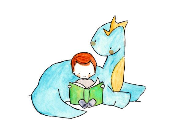 Dragon Tales 8x10  Nursery Art Dragon. Dinosaur