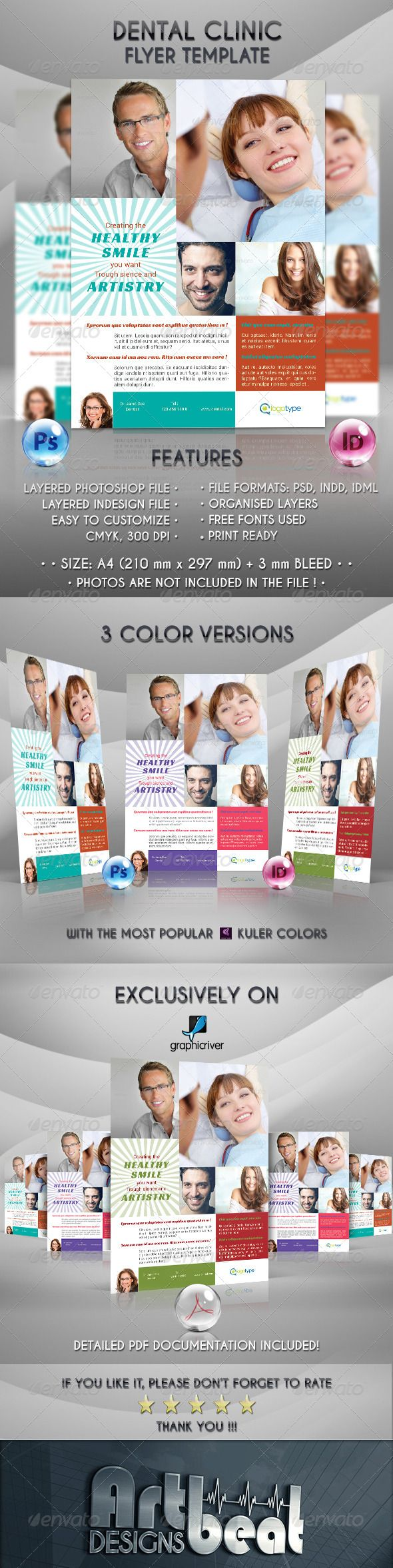 dental clinic flyer template     a4  advertisement  blue  business  clean  clinic  cmyk  company