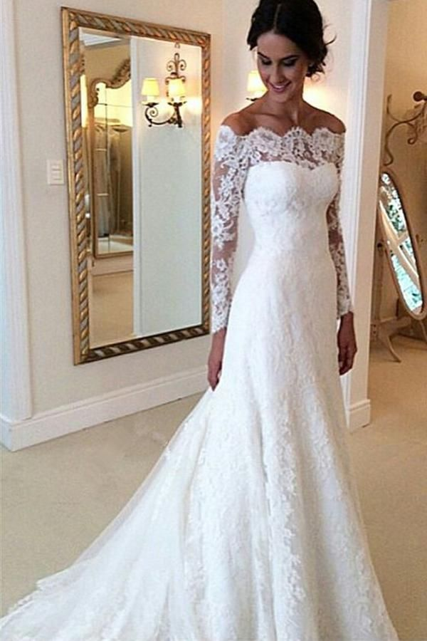 Cheap Ivory Vintage Long Sleeves Wedding Dresses,Off Shoulder Bridal Gown, PW123