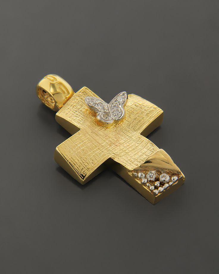 Σταυρός χρυσός & λευκόχρυσος  Κ14 με ζιργκόν | eleftheriouonline.gr