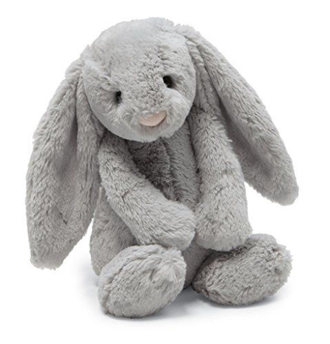 """Jellycat Bashful Grey Bunny, Medium - 12"""" This Bashful is the softest, floppiest critter you'll ever meet. With its silky smooth fur and sweet disposition, you're sure to be in for a lifetime of luxurious cuddles. Hold on tight to their squishy, bean-filled paws – ideal for little hands to grab.Suitable from birthPolyester, plastic pellets, plastic eyesspot clean onlyDesigned by Jellycat in London, UK  easter, easter 2017, Jewelry"""