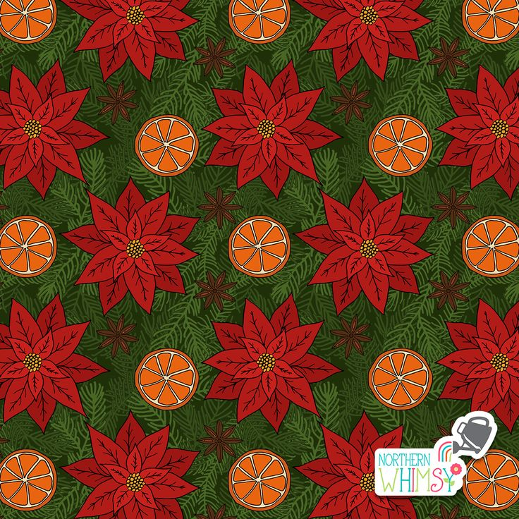 A closer look at an orange slice, pine branch, star anise, and poinsettia pattern from Northern Whimsy's Christmas Spice collection.