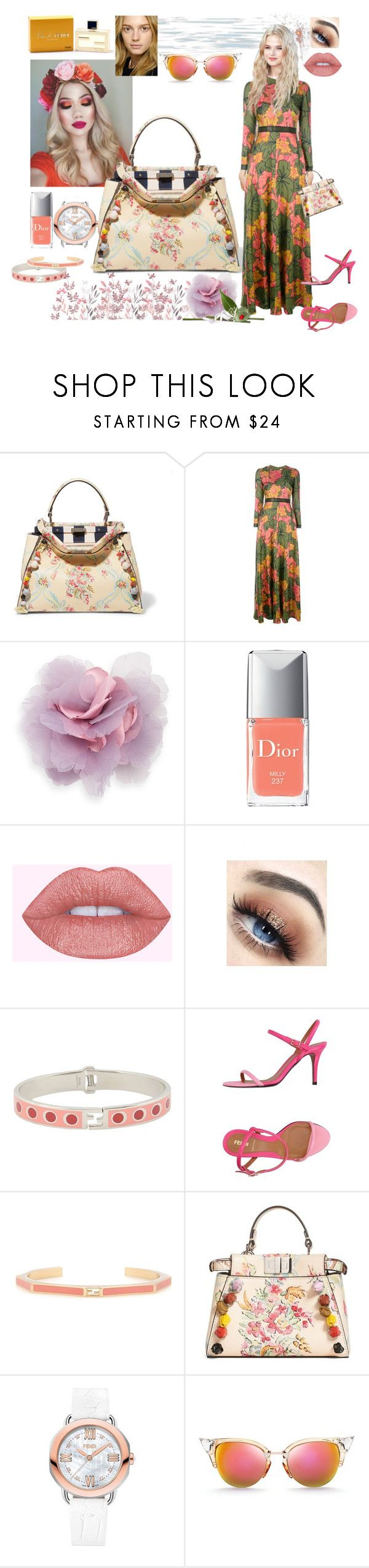 """""""Flower mix for Fendi"""" by lizzylima ❤ liked on Polyvore featuring Fendi, Roksanda, Cara, Christian Dior, flower, summerstyle and fendi"""
