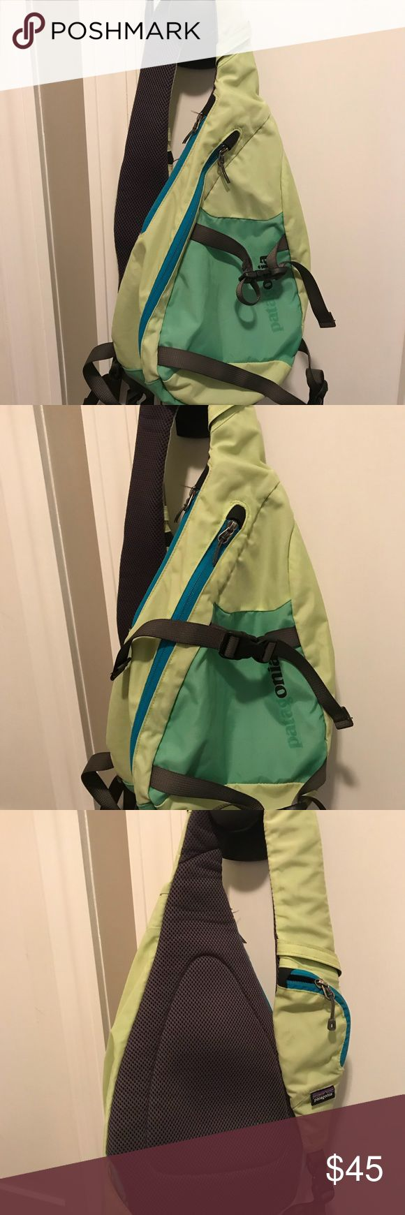Patagonia sling bag 8 L Atom Great used bag with lots of life left in it! The the first 4 letters on the logo has peeled off and there are a few pen marks on the inside of the bag. The rest of the bag is in great shape with no tears, holes or stains. Patagonia Bags Crossbody Bags