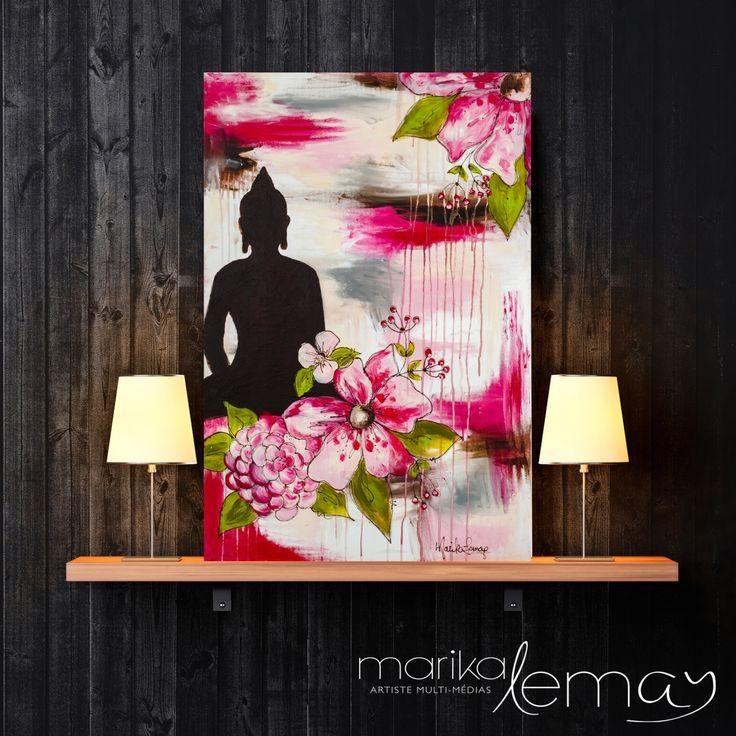 Le Bouddha chaleureux Original mixed media de la boutique MarikaLemayArtiste sur Etsy