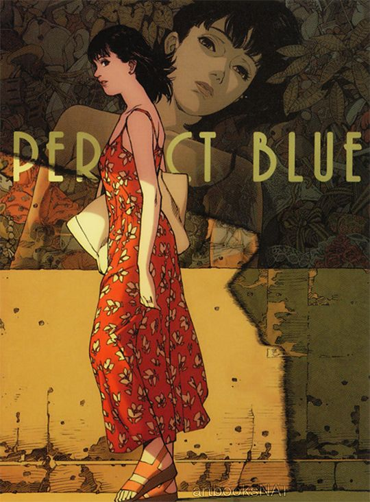 """""""Perfect Blue (パーフェクトブルー)Rare promotional art work for the film Perfect Blue, illustrated by director Satoshi Kon (今敏) and featured in the art book Kon's Works 1982-2010 (Amazon US 
