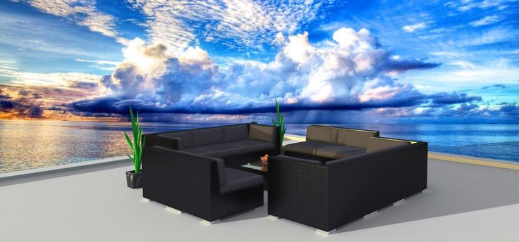 Modern Outdoor Backyard Wicker Rattan Patio Furniture Sofa Sectional Couch Set