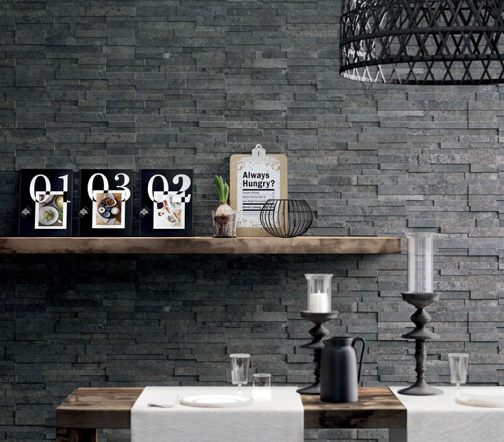 Springstone Collection #brick #wall #living #home #black #restaurant