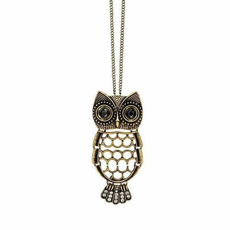 Wise Owl Necklace - $14.99 Antiqued goldtone necklace with openwork owl pendant that is embellished with black rhinestone eyes and clear rhinestone embellished tail feathers. The removable owl pendant can be used as a pin. Find it @http://avon4.me/2poW9ka