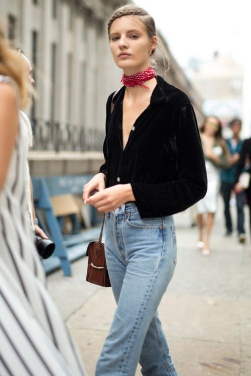 Contrast a stark black button down with light wash high-rise denim. Finish it off with a square neck scarf for a cool Parisian inspired look.