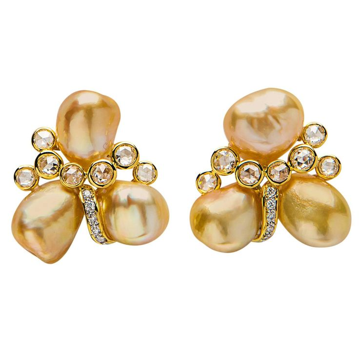 Rare Keshi Pearl Diamond Gold Earrings | From a unique collection of vintage clip-on earrings at https://www.1stdibs.com/jewelry/earrings/clip-on-earrings/