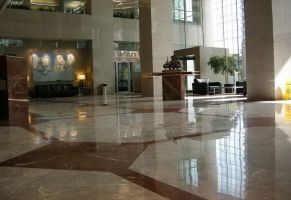 Commercial Lobby - Polished Floor  Scope of work: Polished marble floor. Grind floor flat, sand and polish plus protect floor with a two-step penetrating sealer.
