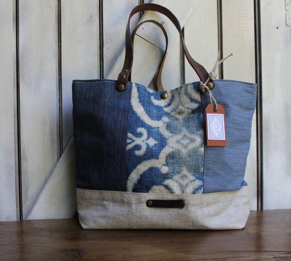sac cabas en lin, style patchwork, poignées en cuir, inclus pare-poussière