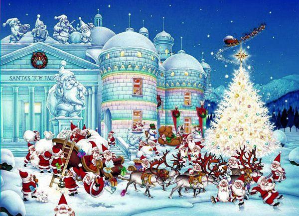 Santa's toy factory and dozens of tiny Santa Claus glisten ...