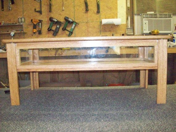 Oak coffee display tables lift-top glass by zandswoodwork on Etsy