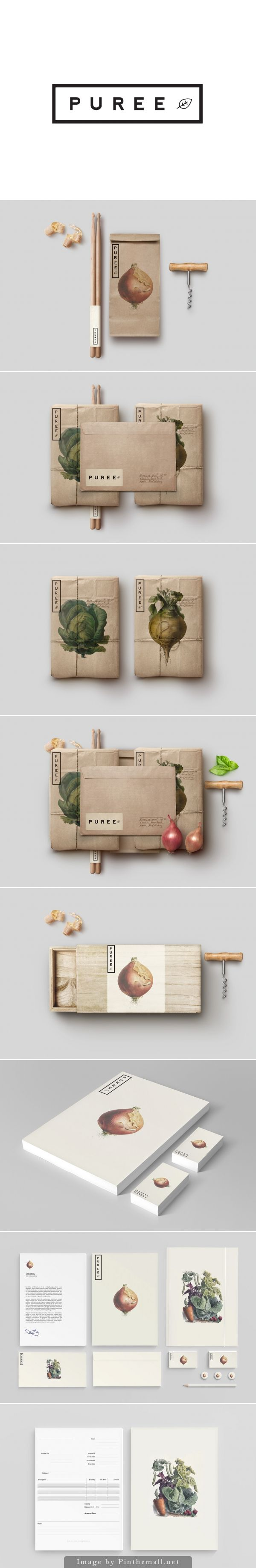 Puree Organics by Studioahamed - I love the antique-style botanical illustrations and brown paper #packaging