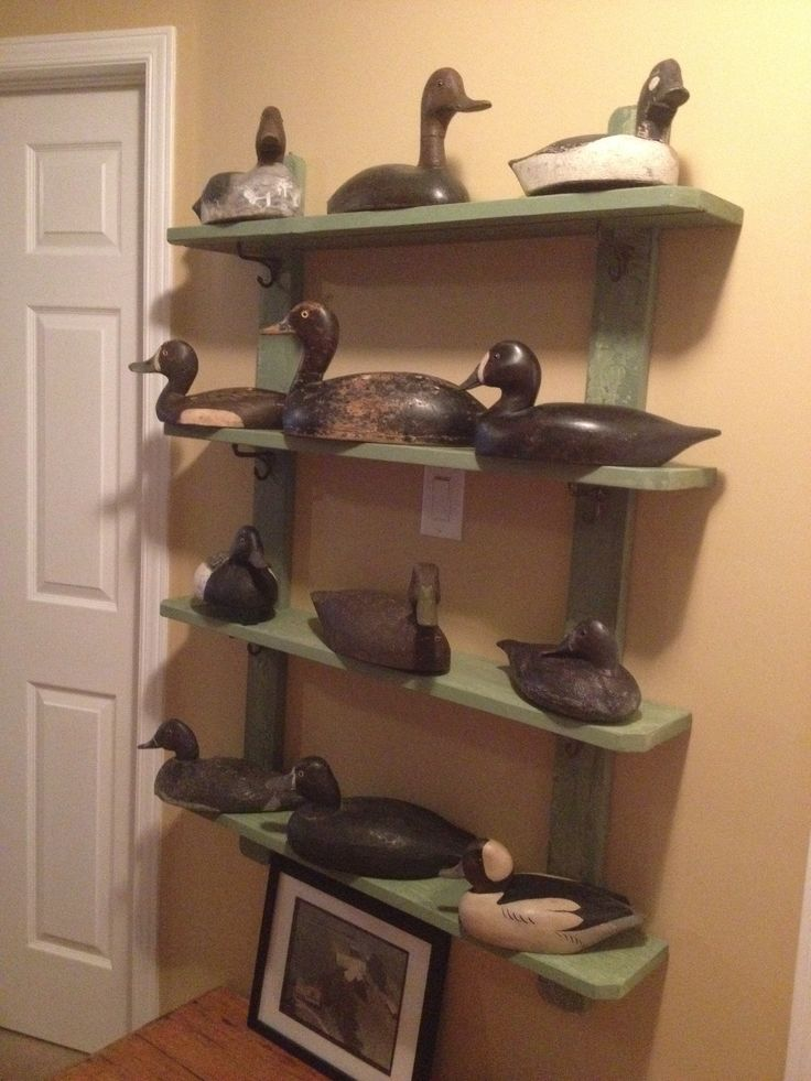Duck decoy display. Shelf made of reclaimed wood.