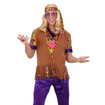 Hippie vest met franjes en hoofdband voor heren. Bruin hippie vest met lange franjes en suede look. Inclusief hoofdband met bloemen print. One size, ongeveer maat M/L. Carnavalskleding 2015 #carnaval