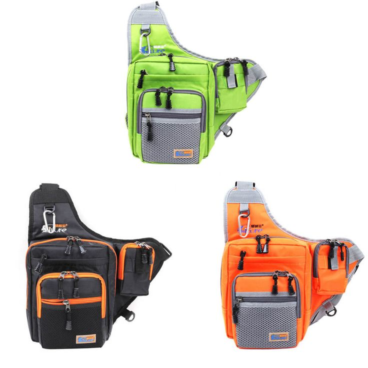 32*39*12CM iLure Multifunction Waterproof Shoulder Fishing Bag Canvas Carp Fishing Reel Lure Tackle Bag Green/Orange/Black