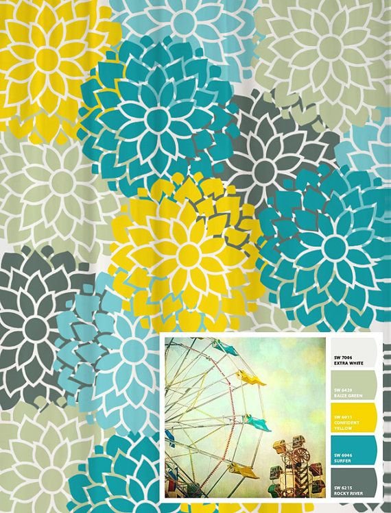 Shower Curtain in Custom Blue Yellow and Gray Floral Standard and Extra  Long Lengths 70 45 best Home Decor  Guest Bathroom Ideas images on Pinterest  . Yellow And Teal Shower Curtain. Home Design Ideas