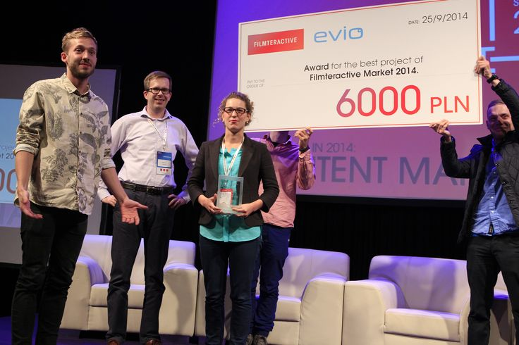 "The winners of Filmteractive Market ""Evio"" Award - ""The Reward"" from Denmark together with Martin Simka - the member of jury and representative of ""Evio"""