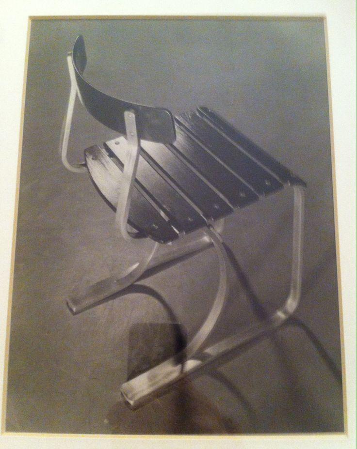 Original photo dokument from Hans Finsler Breuer Marcel;the first aluminium chair on the wolrd for Paris exchibition Sweiz;1933.