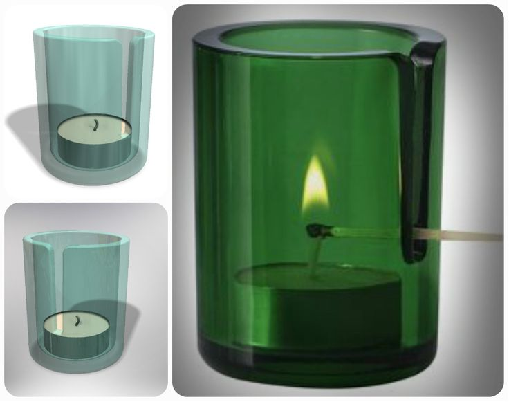 Glass candleholder Never burn your fingers again with this smart tea light.