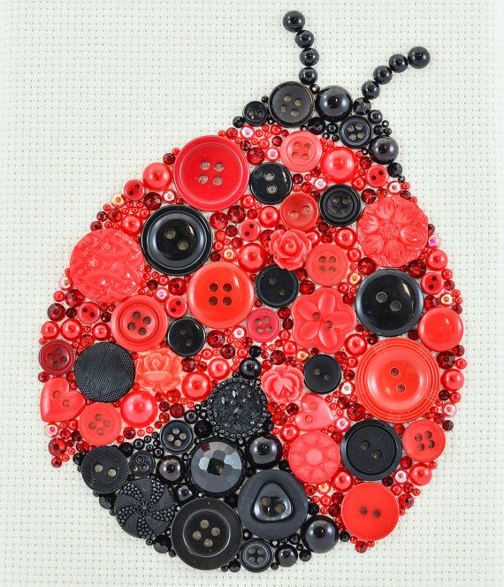Button Art Ladybug Home Decor Button by PaintedWithButtons