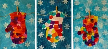Inspiration: Tissue paper mittens pinned to a clothesline. Cute art project for the half-pints.