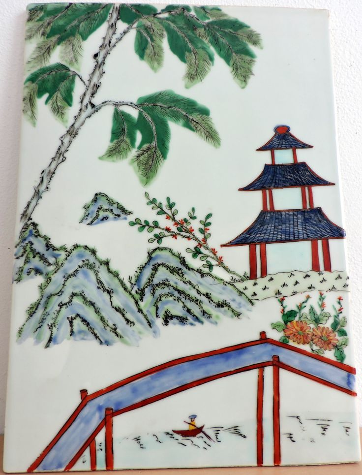 SHIPPING FREE  Antique Vintage Yangtze River Village  Chinese   Porcelain Tile Plaque door Dutchsilver op Etsy