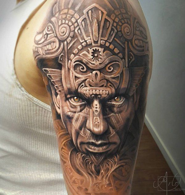 Aztec warrior guy - 50+ Cool Sleeve Tattoo Designs  <3 <3